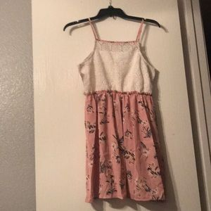 White with pink flower dress